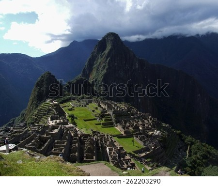 Breathtaking view of whole mythical Inca city, Machu Picchu, Cuzco province, Peru - stock photo