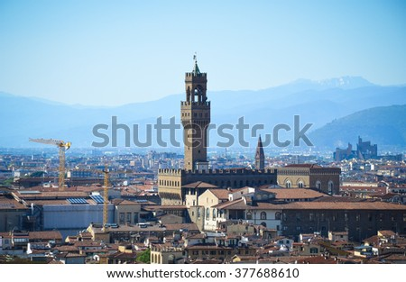 Breathtaking view on Florence at sunny day, Italy
