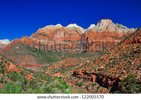 Breathtaking view on the road to Zion National Park. - stock photo