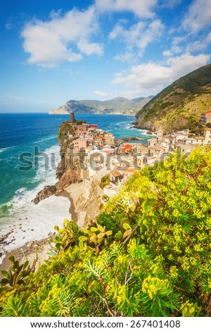 Breathtaking views of the Tyrrhenian Sea coast, the town of Vernazza in the Cinque Terre National Park, Italy - stock photo