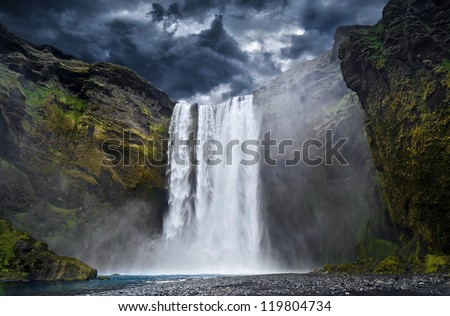 Breathtaking Waterfall in Iceland - stock photo