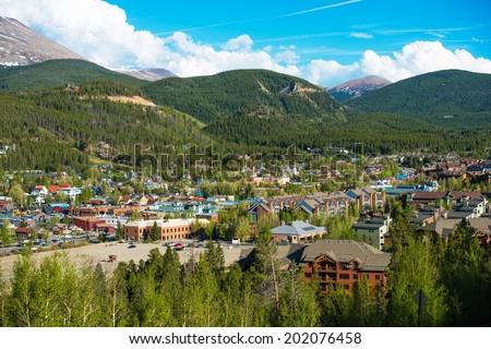 Breckenridge Town in Summit County in Colorado, United States. Breckenridge Late Spring Panorama. - stock photo