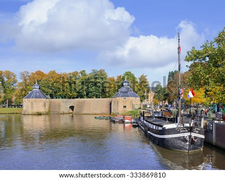 BREDA-HOLLAND-OCT. 10, 2015. Spandjaardsgat, an ancient water gate between the Garnet Tower and Duiventoren of Breda Castle. It symbolizes the hole that the Spaniards dropped in their defense in 1590. - stock photo