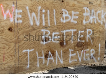 BREEZY POINT, NY - NOVEMBER 15: Sign in Breezy Point, NY in the aftermath of Hurricane Sandy on November 15, 2012 - stock photo
