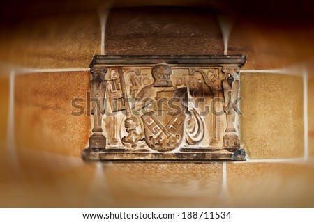Bremen coat of arms in the hands of a Saint, as seen in St. Petri Dom (Bremer Dom or St. Petri Dom zu Bremen), Germany - stock photo