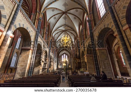BREMEN, GERMANY - APR 5: Interior of the Bremer Dom Cathedral in the city of Bremen. April 5, 2014 in Bremen, Germany