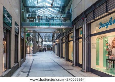BREMEN, GERMANY - APR 5: Katharinen Viertel shopping center in the city of Bremen. April 5, 2014 in Bremen, Germany