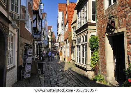 BREMEN, GERMANY - 22 AUGUST 2015: Schnoor Quarter, oldest district of Bremen.