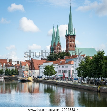 Bremen, Germany - August 20, 2013: View of city Lubeck Old Town.