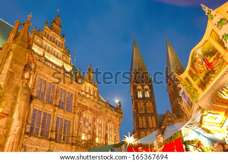 Bremen, Germany: famous town hall and x-mas market - stock photo