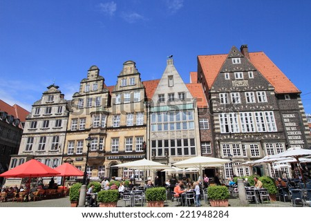 BREMEN, GERMANY - JUNE 2, 2010: View of Bremen old town on June 2, 2010 in Bremen, Germany. The town forms part of the German landmark fairy tale route and is a UNESCO world heritage.  - stock photo