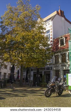 BREMEN, GERMANY - OCTOBER 4, 2014: Old town street in downtown Bremen, Germany. UNESCO World Heritage Site. - stock photo