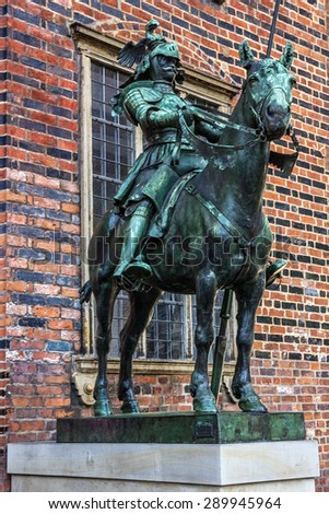 Bremen, Germany: Statue of horseman - medieval knight sculpture