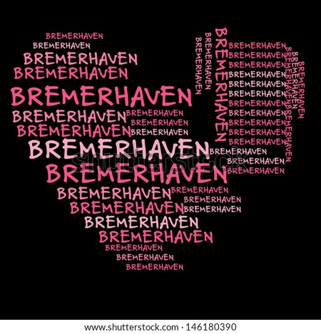 Bremerhaven word cloud in pink letters against black background