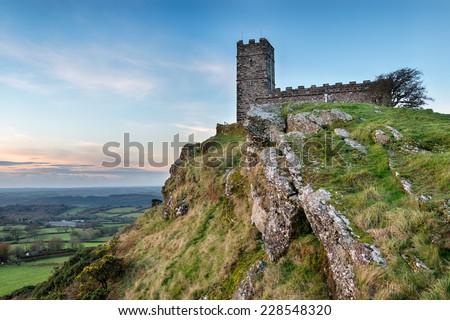 Brentor church perched on a rocky outcrop on Dartmoor National Park near Tavistock in Devon - stock photo