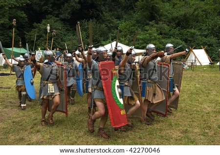 BRESCIA, ITALY - JULY 13 : Participants in a 'battle' action between Roman and Celtic army at the celebration of the Celtic Day July 13, 2008 in Brescia, Italy