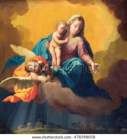 BRESCIA, ITALY - MAY 22, 2016: Painting of Madonna as the guardian in the storm over the Brescia in the church Chiesa di Santa Maria dei Miracoli by unknown artist of 19. cent.