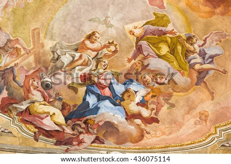 BRESCIA, ITALY - MAY 23, 2016: The Coronation of Virgin Mary fresco on the wault of presbytery of Sant'Afra church by Sante Cattaneo (18. cent.)