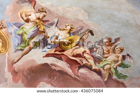 BRESCIA, ITALY - MAY 23, 2016: The fresco  of choirs of angels on the cupola of presbytery of Chiesa di Sant'Afra church (18. cent.) by Sante Cattaneo.