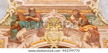 BRESCIA, ITALY - MAY 21, 2016: The fresco of Moses and king Salomon in Chiesa di Santa Maria della Carita by Ferdinando Cairo and Luigi Vernazal from 18. cent. - stock photo