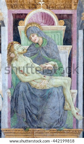 BRESCIA, ITALY - MAY 21, 2016:  The fresco of Pieta in church Chiesa del Santissimo Corpo di Cristo by  Paolo Caylina il Vecchio (cca 1501).