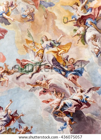 BRESCIA, ITALY - MAY 23, 2016: The Glory of Santa Eufemia fresco on the wault of presbytery of Sant'Afra church by Antonio Mazza (18. cent.) by Antonio Mazza and Carlo Innocenzo Carloni.