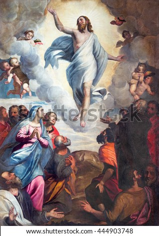 BRESCIA, ITALY - MAY 22, 2016: The painting Ascension of the Lord in church Chiesa di Santa Maria del Carmine by Bernardino Gandino (1587 - 1651).