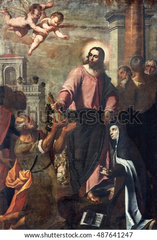 BRESCIA, ITALY - MAY 22, 2016: The painting Jesus consigning the keys to Peter and St. Theresia of Avila in church Chiesa di Santa Maria del Carmine by Bernardino Gandino (17. cent.)