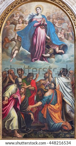 BRESCIA, ITALY - MAY 22, 2016: The painting of Assumption of Virgin Mary in church Chiesa di Santa Maria dei Miracoli by Pietro Marone (1548 - 1603).