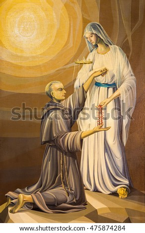 BRESCIA, ITALY - MAY 22, 2016: The painting of holy Maximilian Kolbe and Virgin Mary of the Lourdes in church Chiesa di San Francesco d'Assisi by A. Girardi (1984).