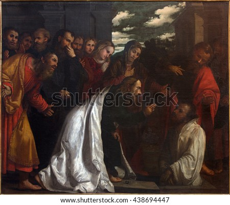 BRESCIA, ITALY - MAY 23, 2016: The painting of Resurrection of Lazarus in church Chiesa di San Giovanni Evangelista by Girolamo Romani - Romanino (1484 - 1559).
