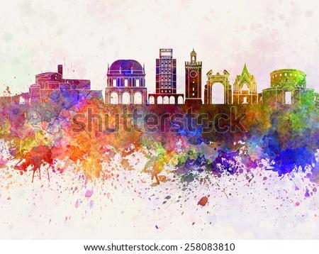 Brescia skyline in watercolor background - stock photo