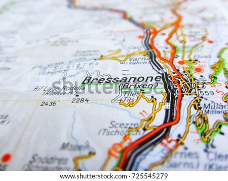 Bressanone City Over Road Map Italy Stock Photo 725545279 Shutterstock