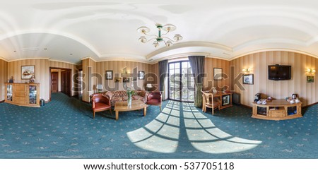 BREST, BELARUS - APRIL 27, 2014: Modern loft apartment interior, living room, hall, ace panorama, full 360 panorama in equirectangular spherical projection in Hermitage hotel, VR content