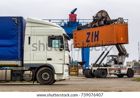 Brest, Belarus - October 20, 2017: The work of the cargo terminal. Brest is a border town where roads from Europe to the east cross.