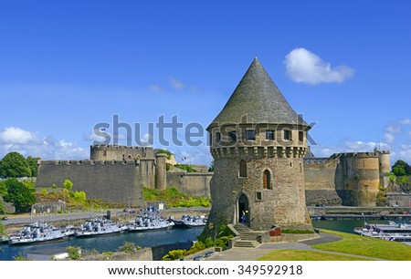 BREST, FRANCE - JULY 5, 2015: Tour Tanguy and Old castle of city Brest, Finistere, Brittany - stock photo