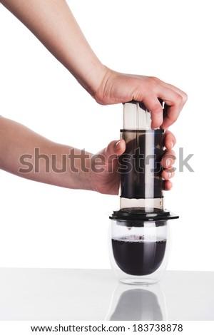 Brew coffee in aeropress - stock photo