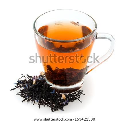 brew tea isolated on white background - stock photo