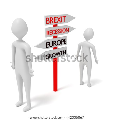Brexit and Europe: guidepost with 3d men, 3d illustration