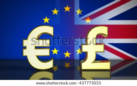 Brexit British referendum financial concept with EU and UK flag and money symbol 3D illustration.