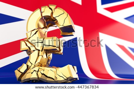 BREXIT - broken pound sign - united kingdom flag - 3D rendering - stock photo