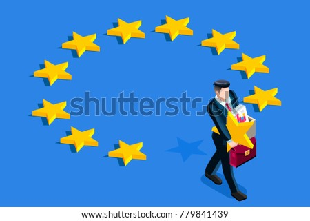 Brexit concept. A british gentleman take a star out from euro flag.