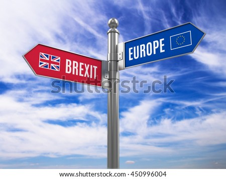 Brexit concept - Euro and Brexit road signs with flags. 3d illustration - stock photo
