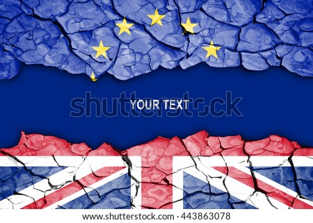 Brexit, crack between flags of the UK and the EU, space for text - stock photo