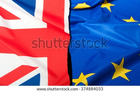 Brexit - Detail of  Separated Silky Flags of European Union and United Kingdom