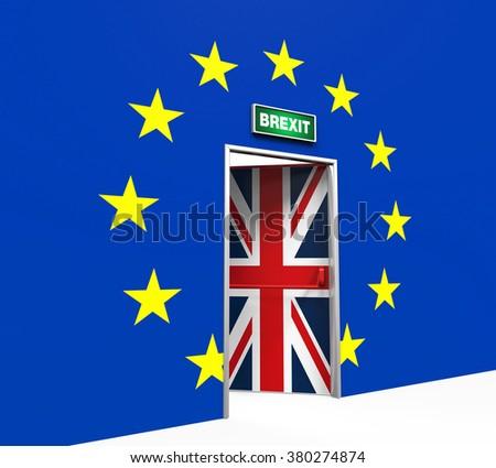 Brexit Door Illustration - stock photo