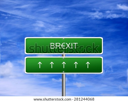 Brexit EU crisis European Union Great Britain UK exit sign. - stock photo