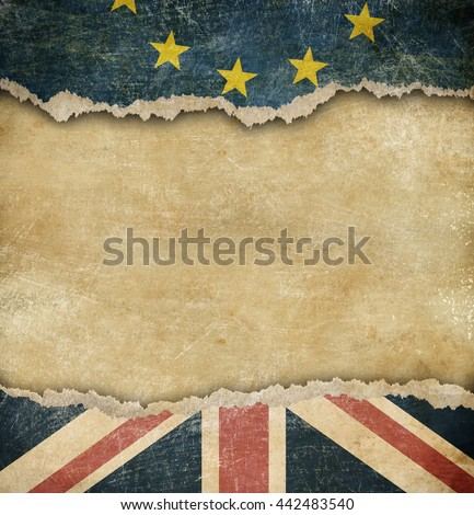 Brexit - European union and Great Britain flags on cardboard - stock photo