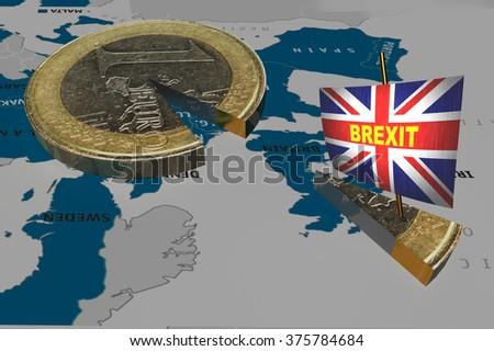brexit Great Britain flag , euro , eurozone,  - stock photo