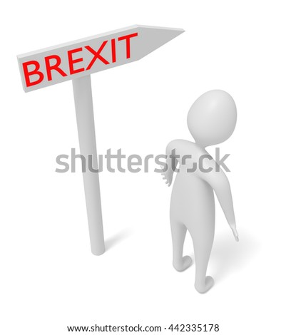 Brexit: guidepost with 3d man, 3d illustration